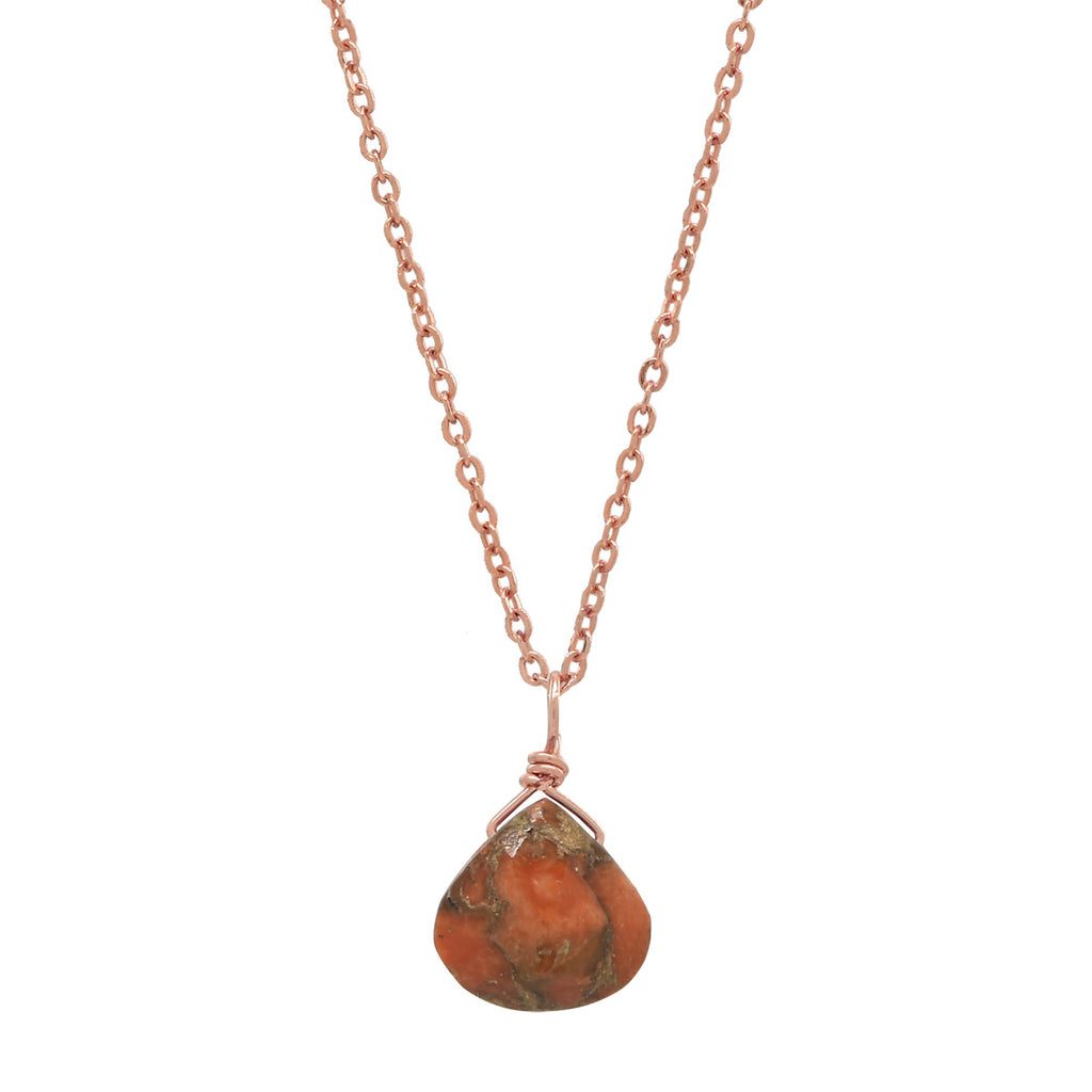 SALE - Tiny Copper Coral Teardrop Necklace