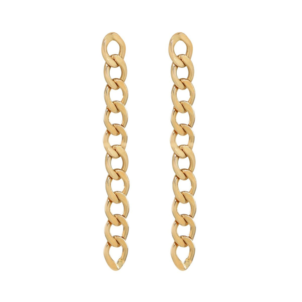 Curb Chain Studs/ Huggie Hoops in gold.
