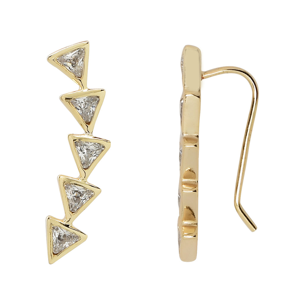 SALE - Curved CZ Multi-Triangle Ear Crawler