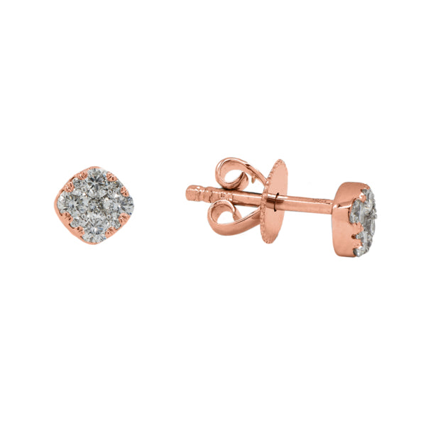 Rounded Corners Pave Diamond Stud Earring
