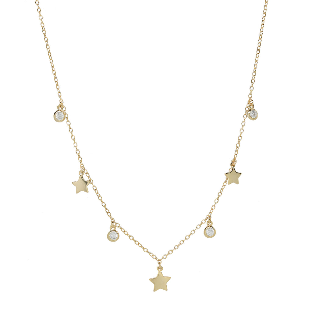 Multi Star and CZ Choker Necklace