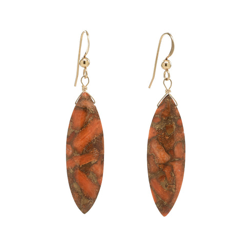 Copper Coral Marquis Earrings