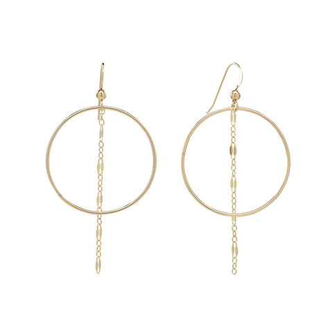 "Hoop w/ 1.5"" GL Dangle Chain Earrings"