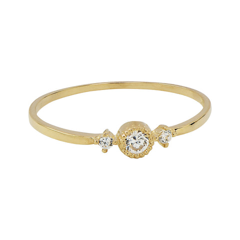 SALE - 10k Solid Gold CZ Circle/ 2 Side CZ Ring