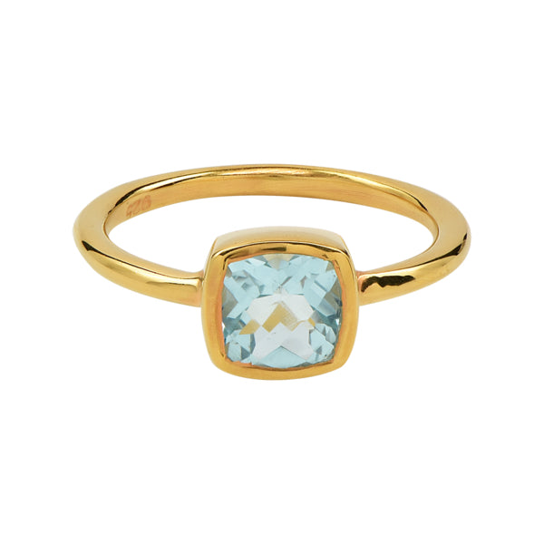 SALE - Mini Cushion Gold Bezel Ring