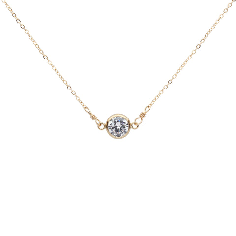 6mm Round CZ Bezel Link Necklace