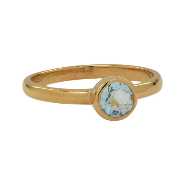 SALE - Mini Blue Hydro Quartz Round Gold Bezel Ring