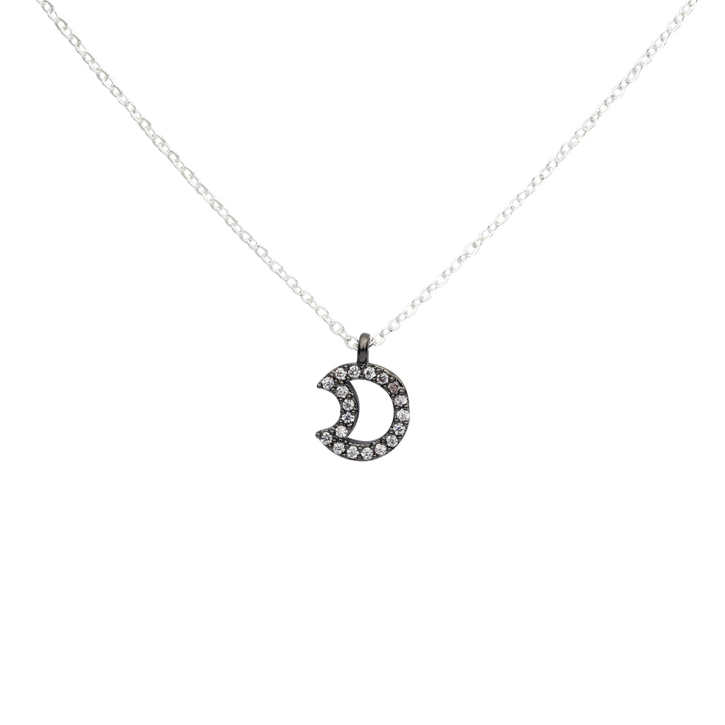 SALE - CZ Open Crescent Moon Necklace