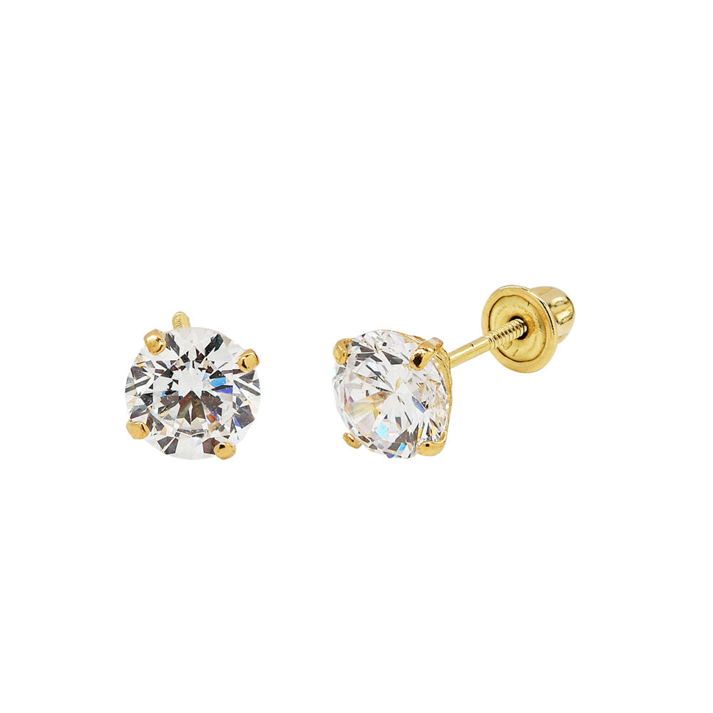 10k Solid Gold 5mm CZ Studs