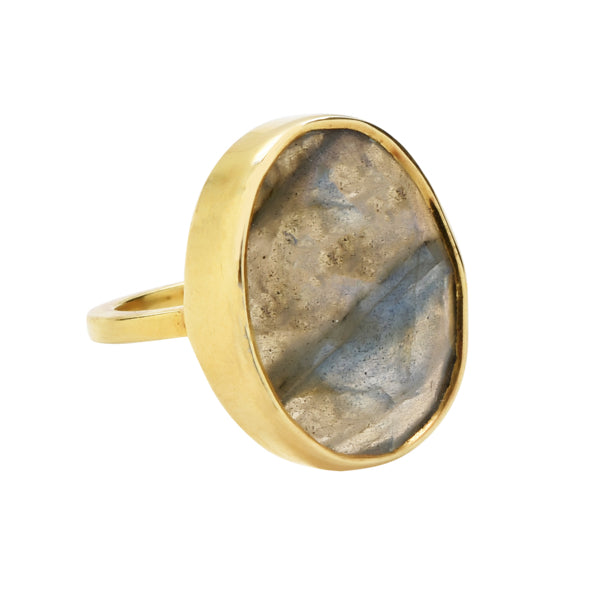 SALE - Large Labradorite Oval Gold Bezel Ring