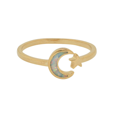 10k Solid Gold Opal / CZ Ring