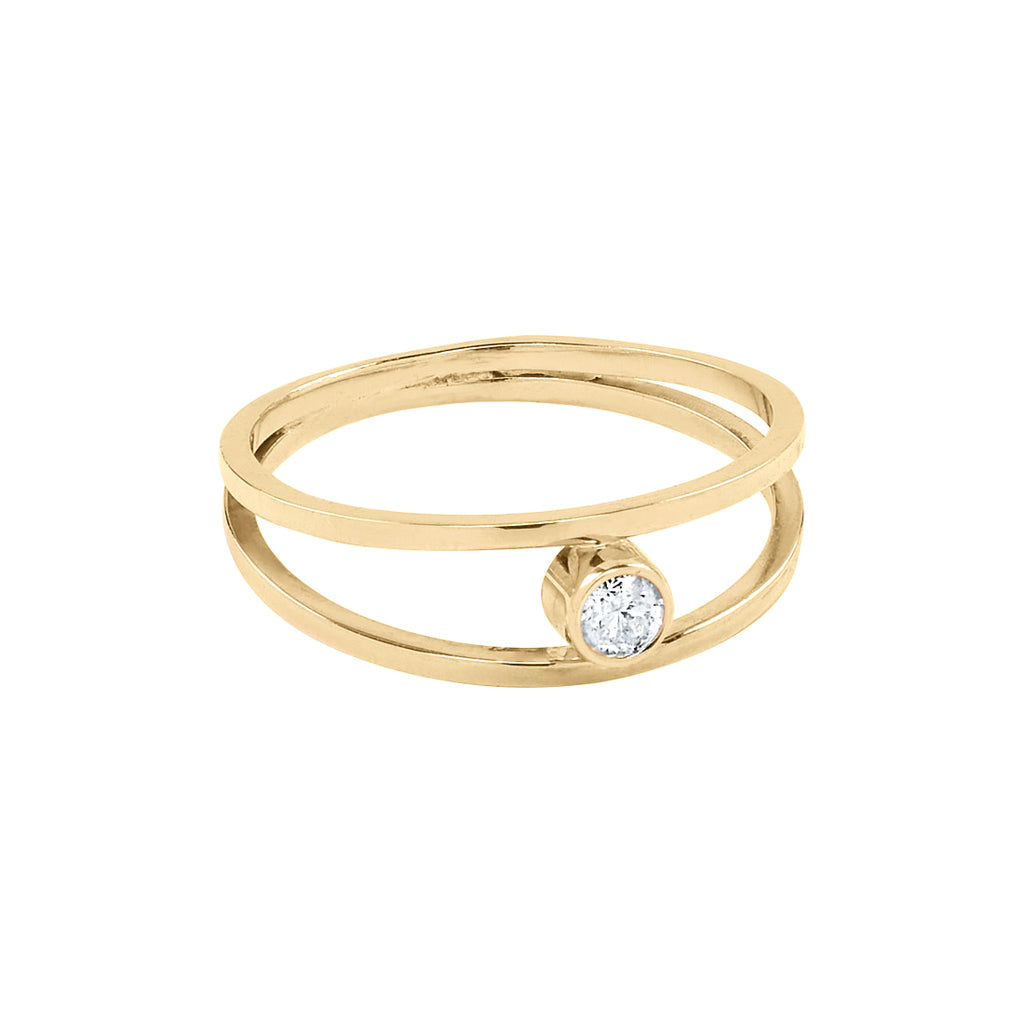 SALE - 14k Solid Gold Double Band & Clear Diamond Ring