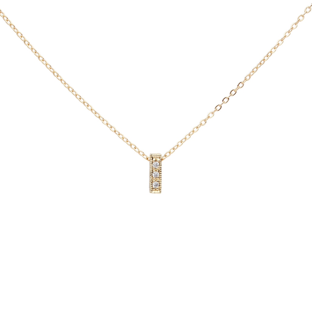 SALE - CZ Tiny Bar Necklace
