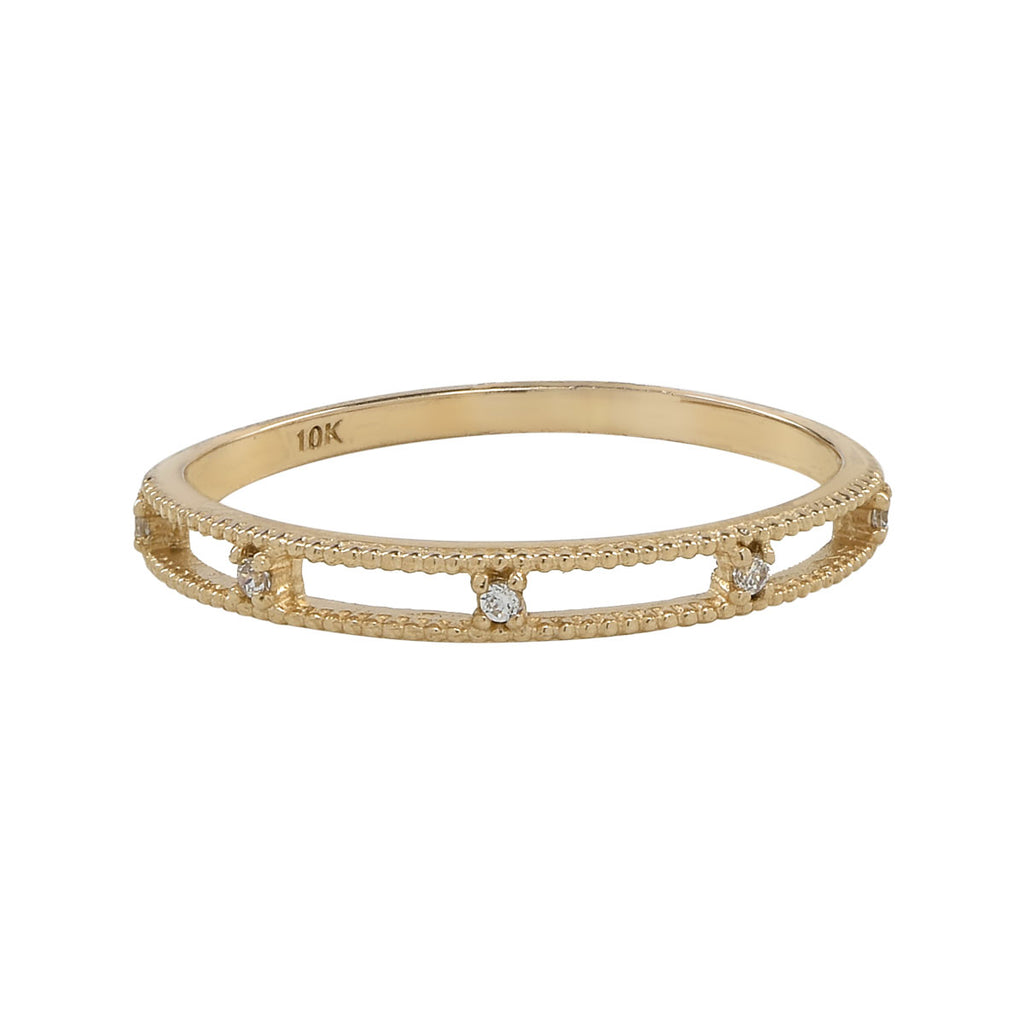 10k Solid Gold CZ Double Band Ring