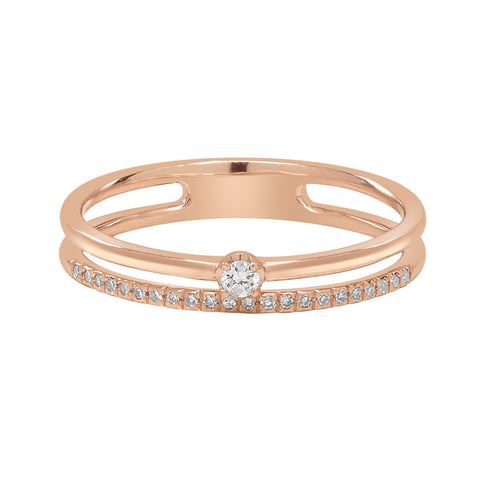 14K DOUBLE BAND DIAMOND RING
