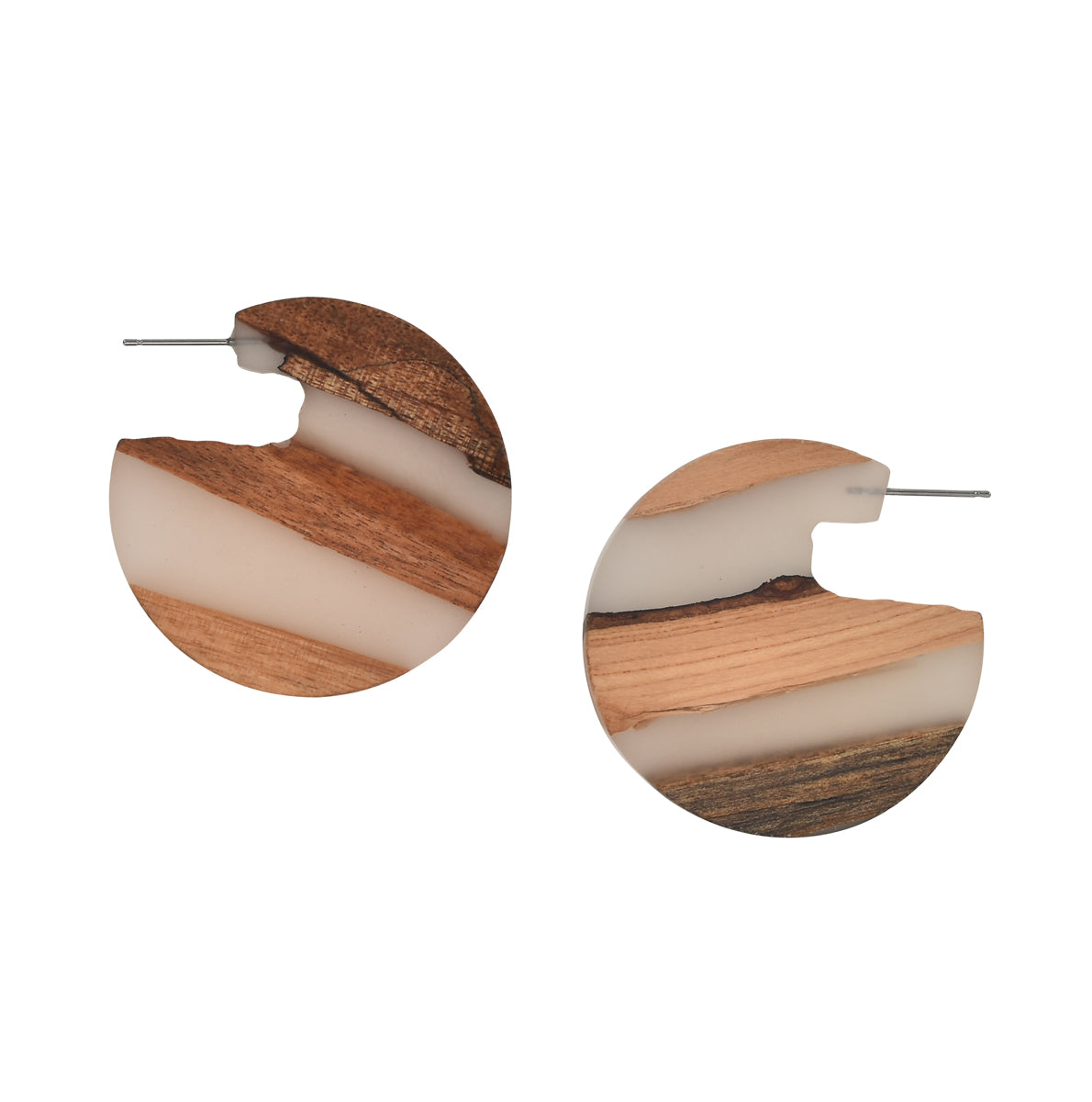 White + Wood Striped Earrings