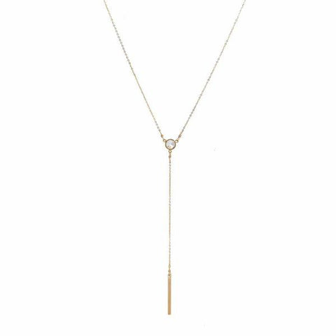 CZ Y-Drop Bar Necklace