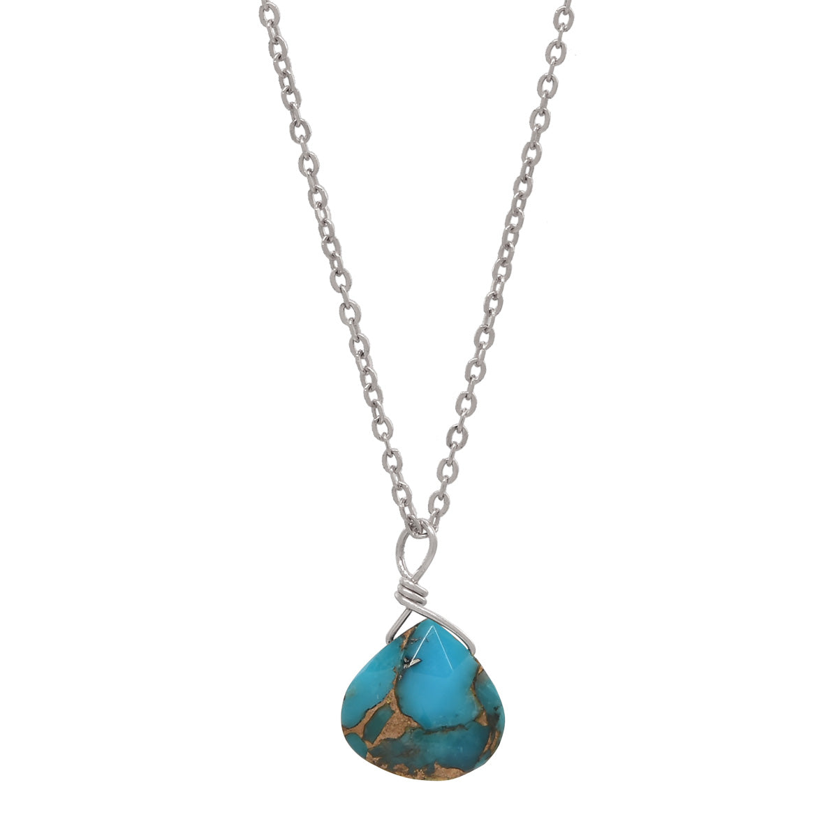 Tiny Mojave Turquoise Teardrop Necklace