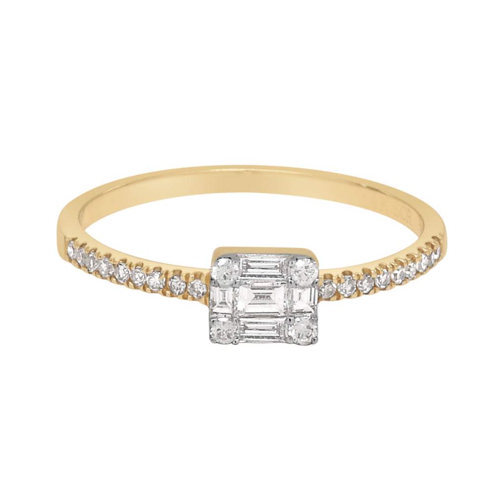 14K Multi-Baguette Rectangular Diamond Ring