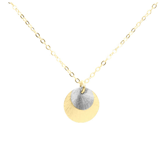 2-Tone Brushed Disc Necklace