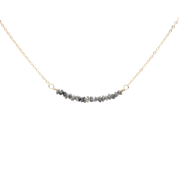 Grey Raw Unpolished Diamond Bar Necklace