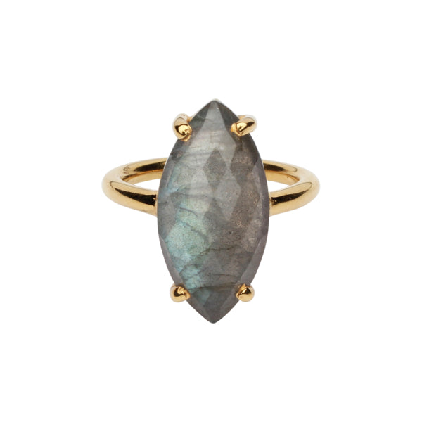 SALE - Labradorite Marquise Gold Bezel Ring
