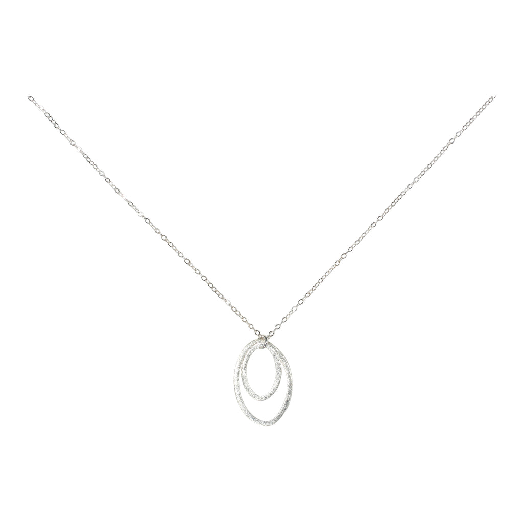 Double Brushed Marquise Necklace