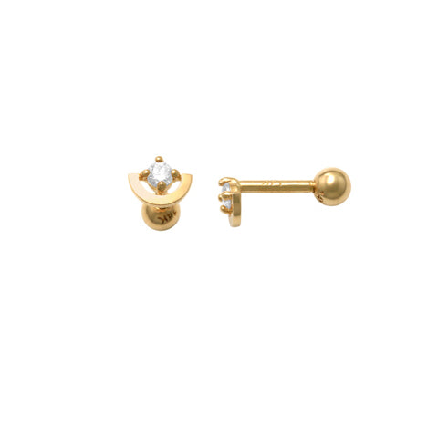 10k Solid Gold Half Circle with CZ Tragus