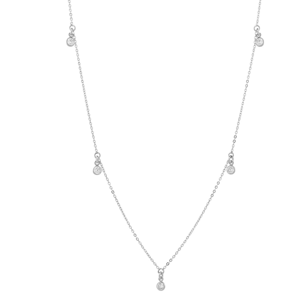 5 Tiny CZ Bezel Choker / Necklace