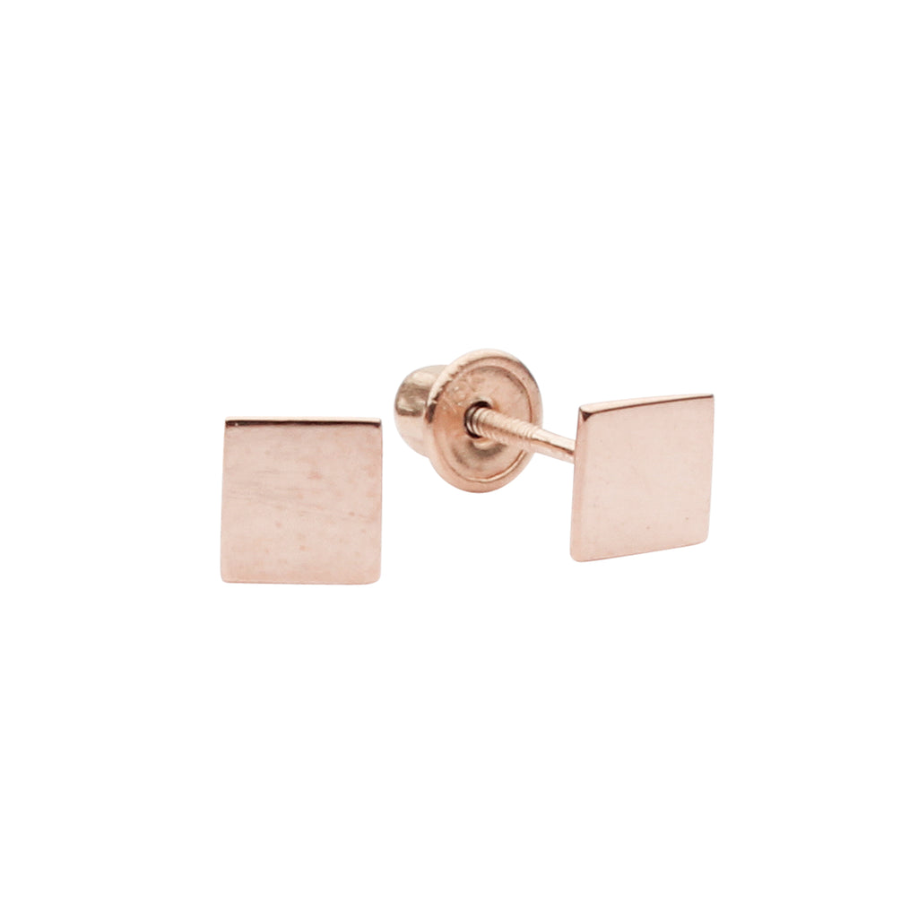 SALE - 10k Solid Gold Square Studs