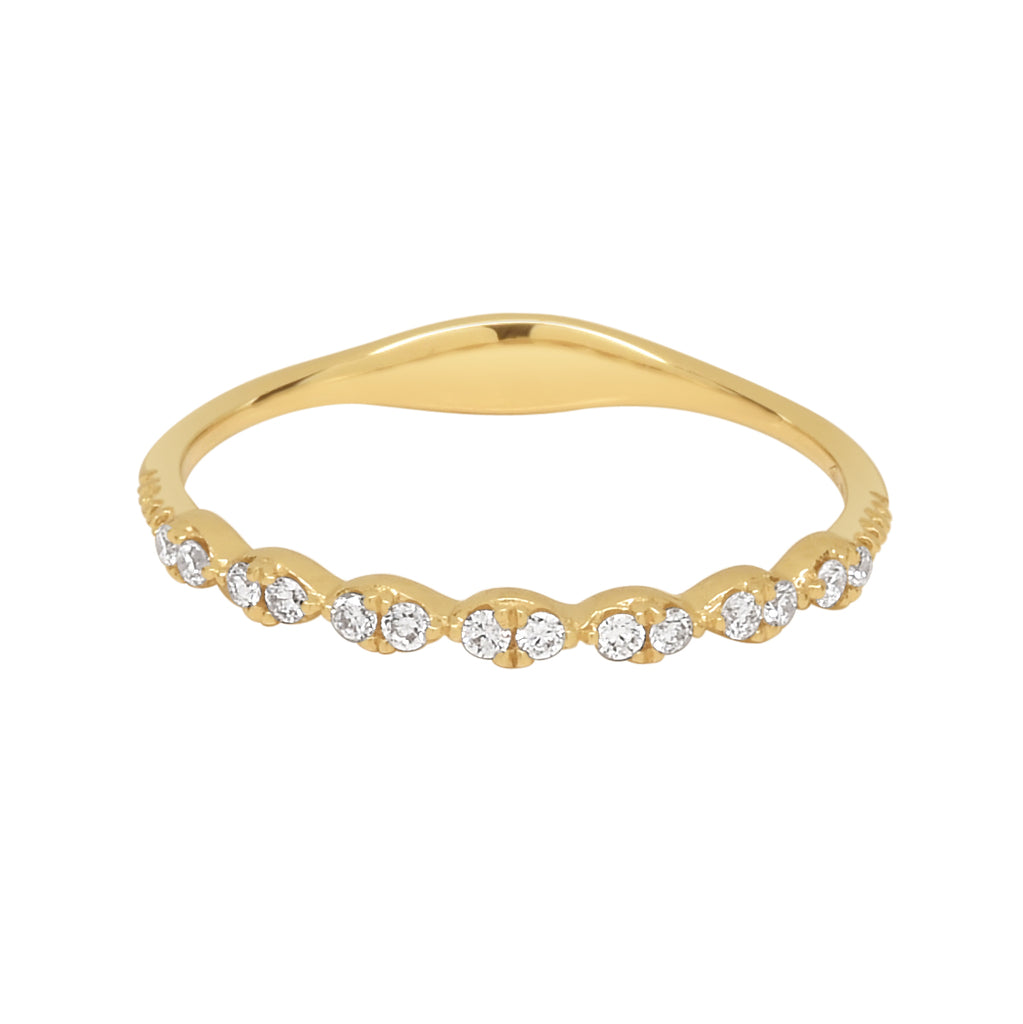 18K Double Diamond Marquise Half Band Ring