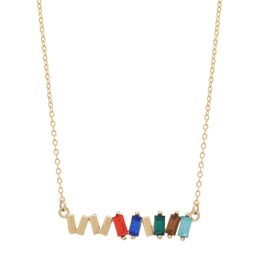 SALE - Colorful Multi CZ Baguette Necklace