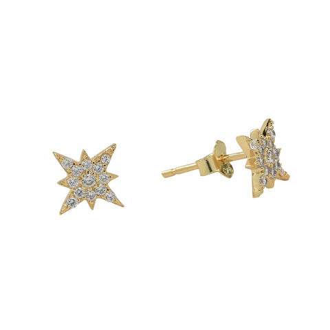CZ 8 Pointed Star Studs