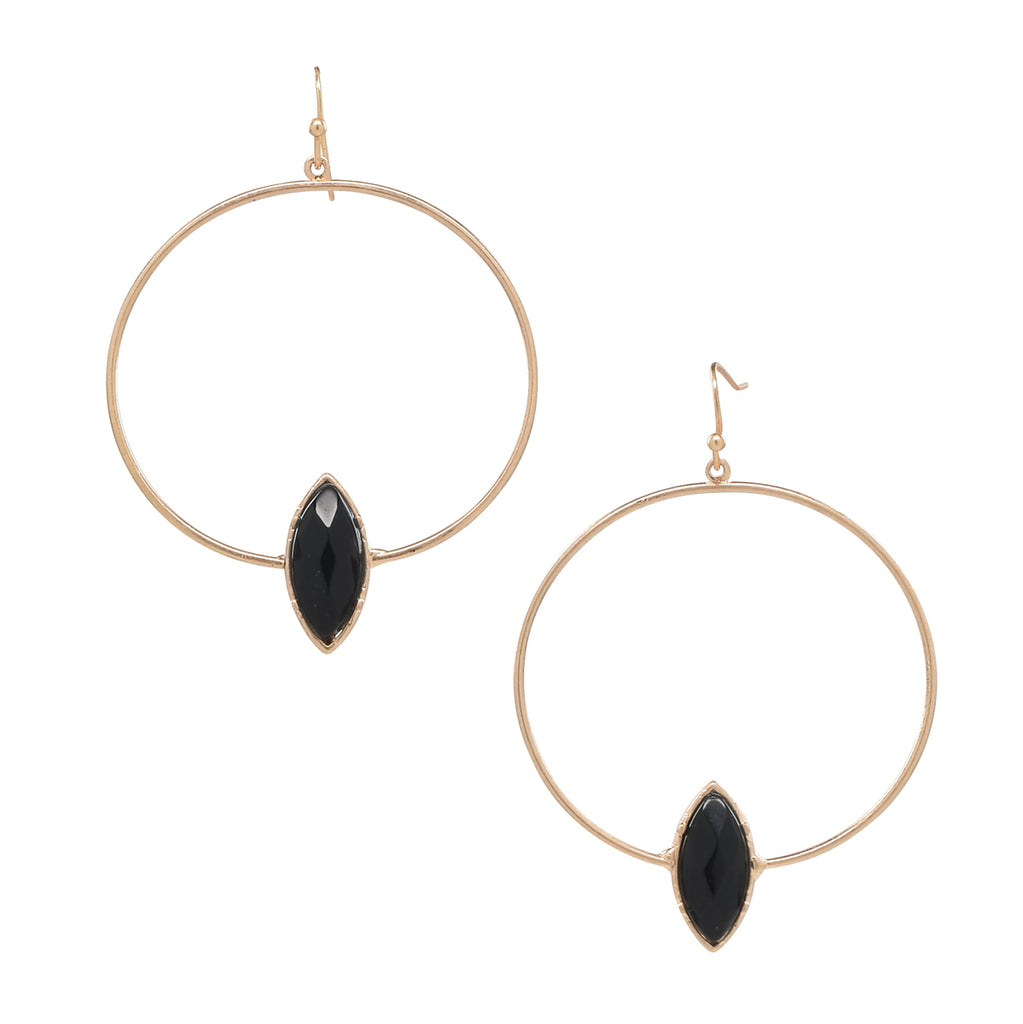 SALE - Black Onyx Marquis Stone Hoop Earrings