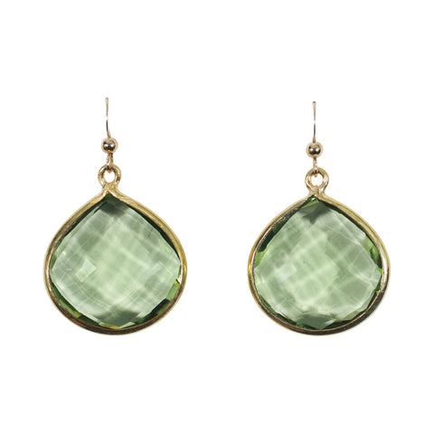 Large Bezel Teardrop Earrings