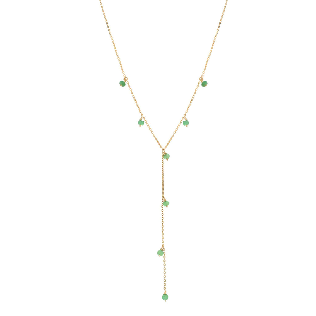 Tiny Green Onyx Stone Y-Drop Necklace