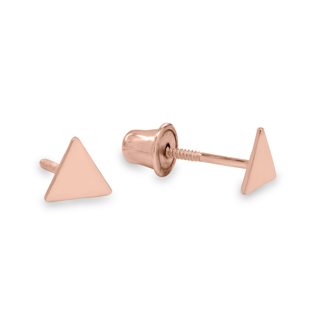 10k Solid Gold 4mm Triangle Studs