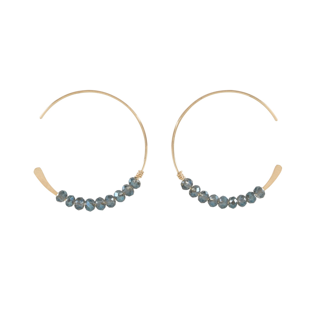SALE - 26mm Clear Blue Stone Hammered End Hoops