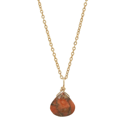 Tiny Copper Coral Teardrop Necklace