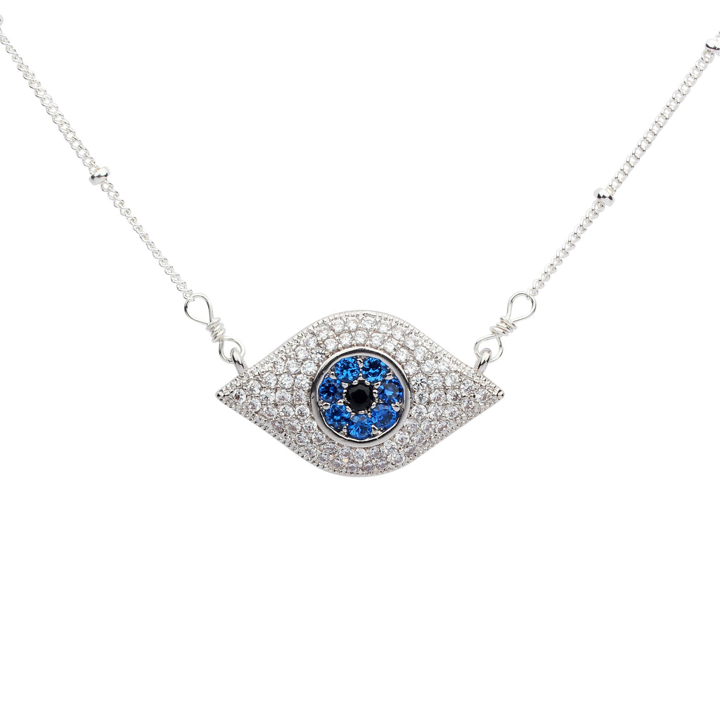 SALE - Large Colored CZ Evil Eye Necklace