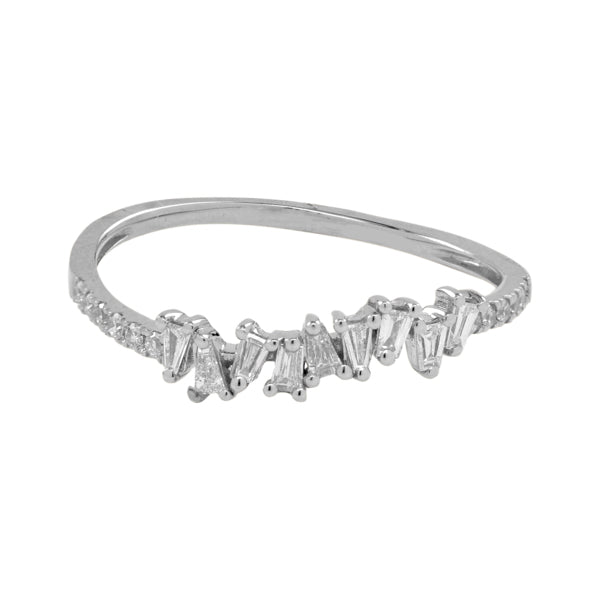 Multiple Diamond Baguette Half Band Ring
