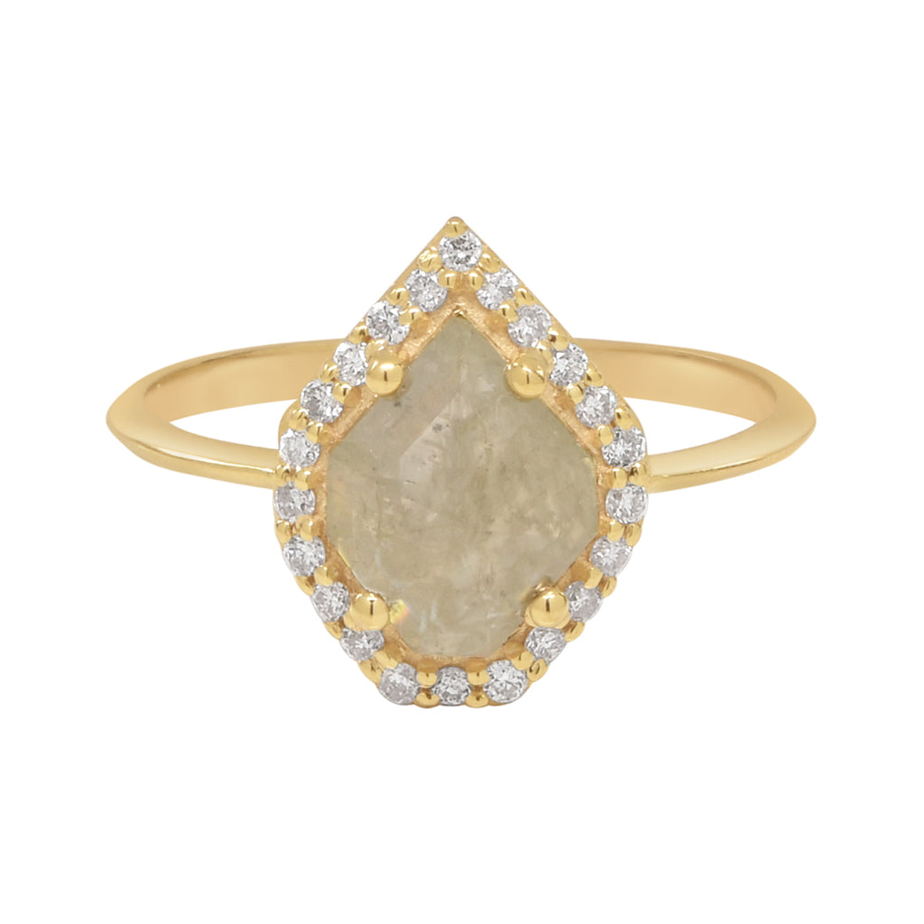 14k Uneven Teardrop Diamond Slice Ring