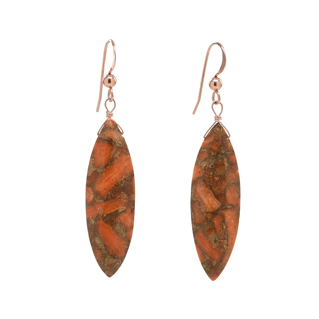 SALE - Copper Coral Marquise Earrings