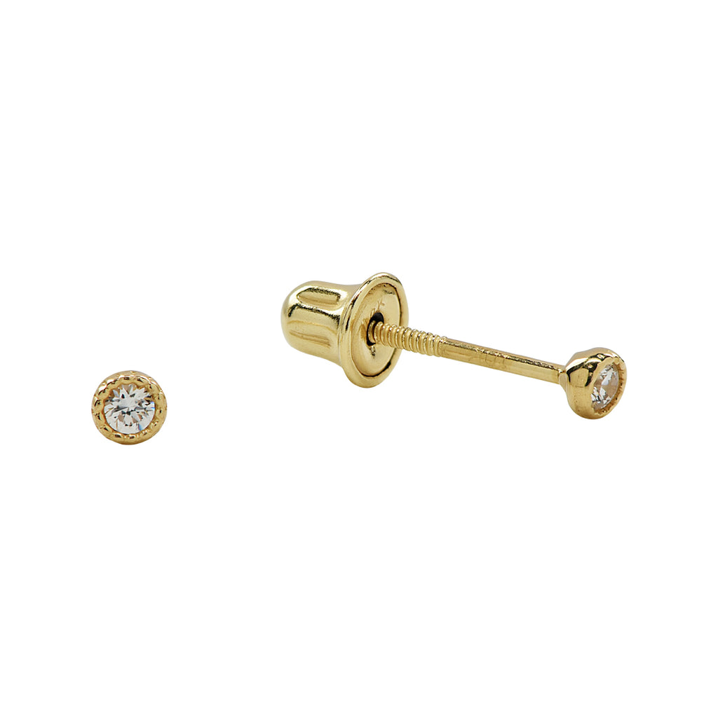 10k Solid Gold CZ Scalloped Studs