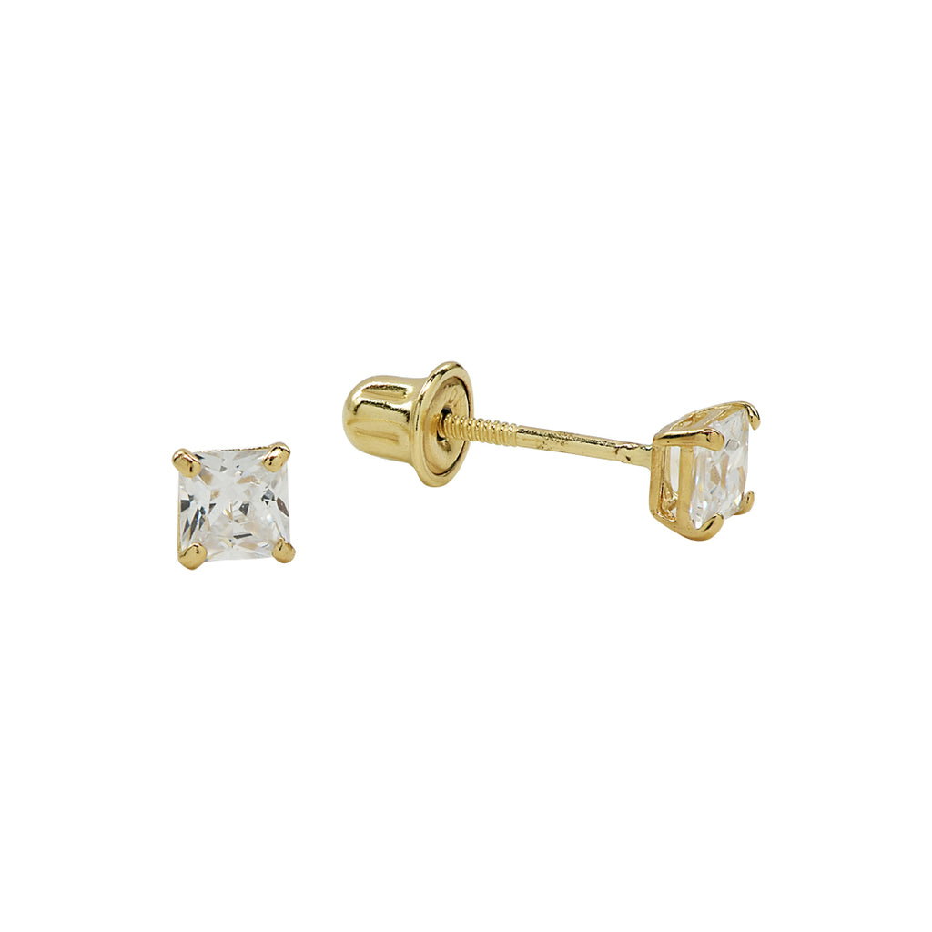 10k Solid Gold CZ Square Prong Studs