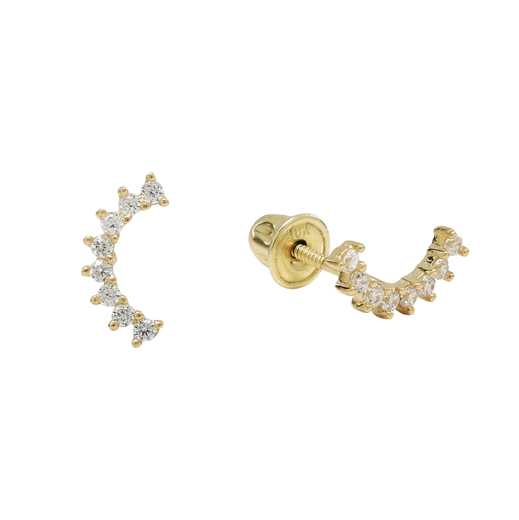 10k Solid Gold CZ Pear Crawler Studs
