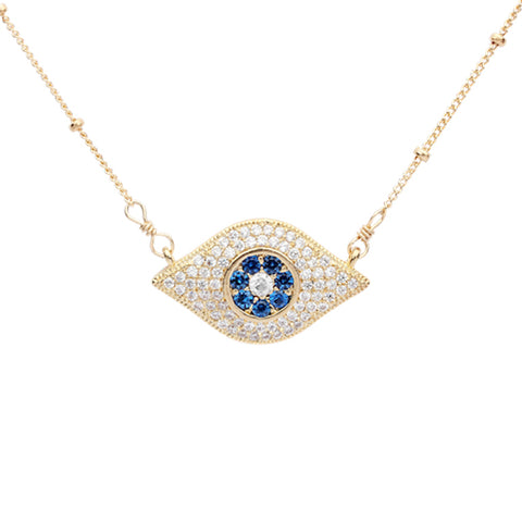 Large Colored CZ Evil Eye Necklace
