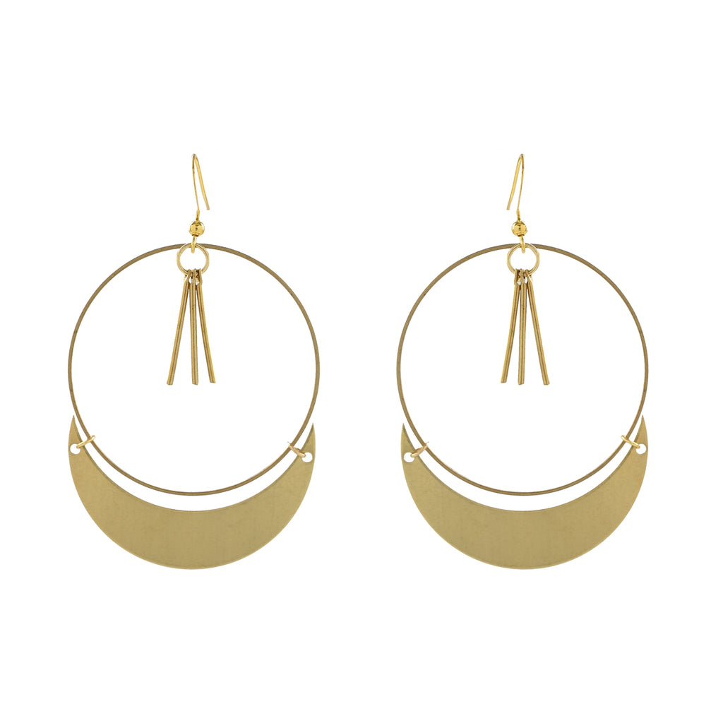 Fringe and Crescent Hoop Earrings