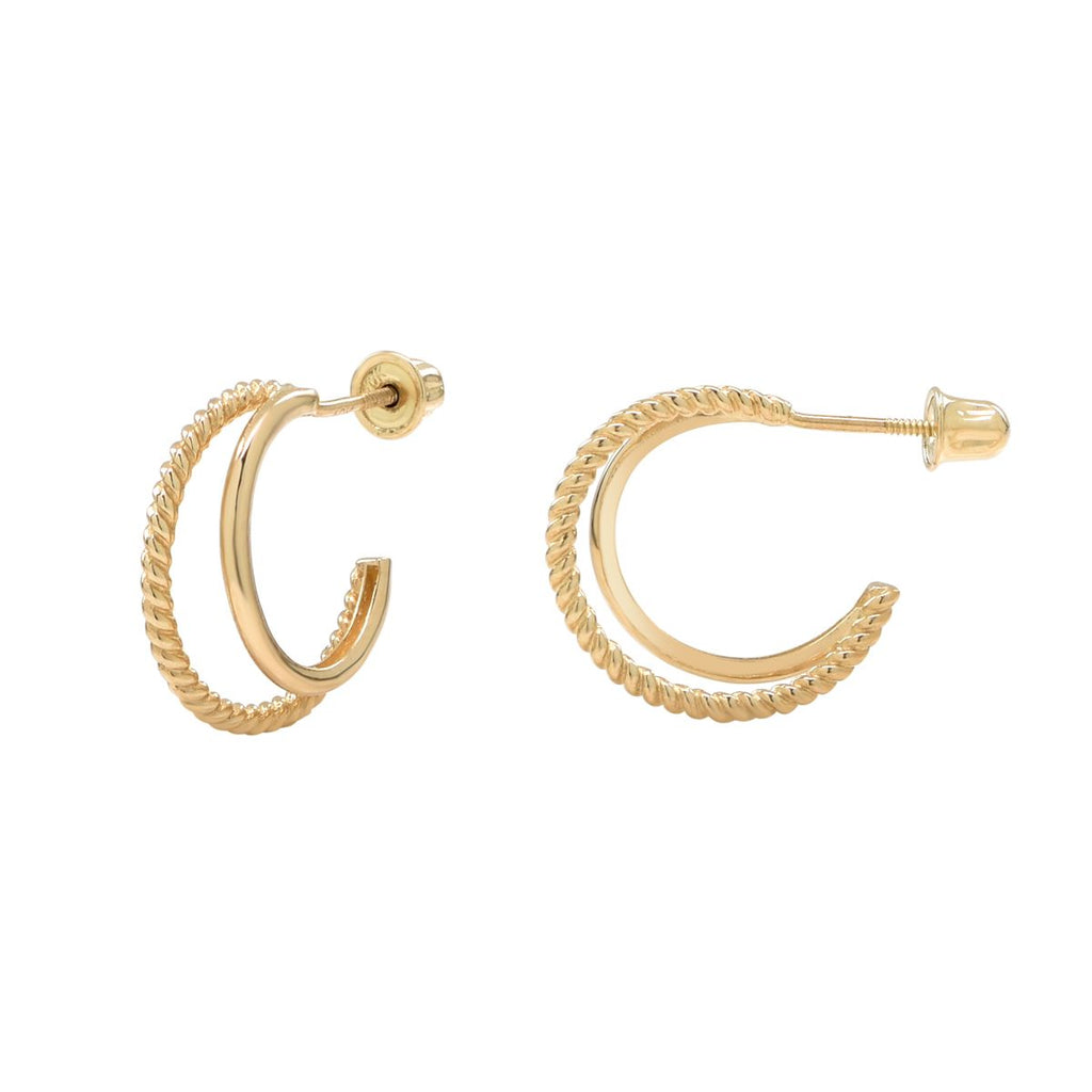 10k Solid Yellow Gold Twisted & Smooth Double Huggie Hoop Studs