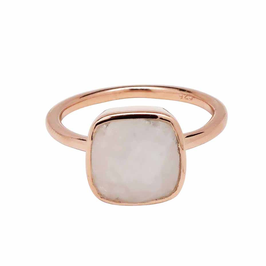 SALE - Small Moonstone Square Rose Gold Bezel Ring